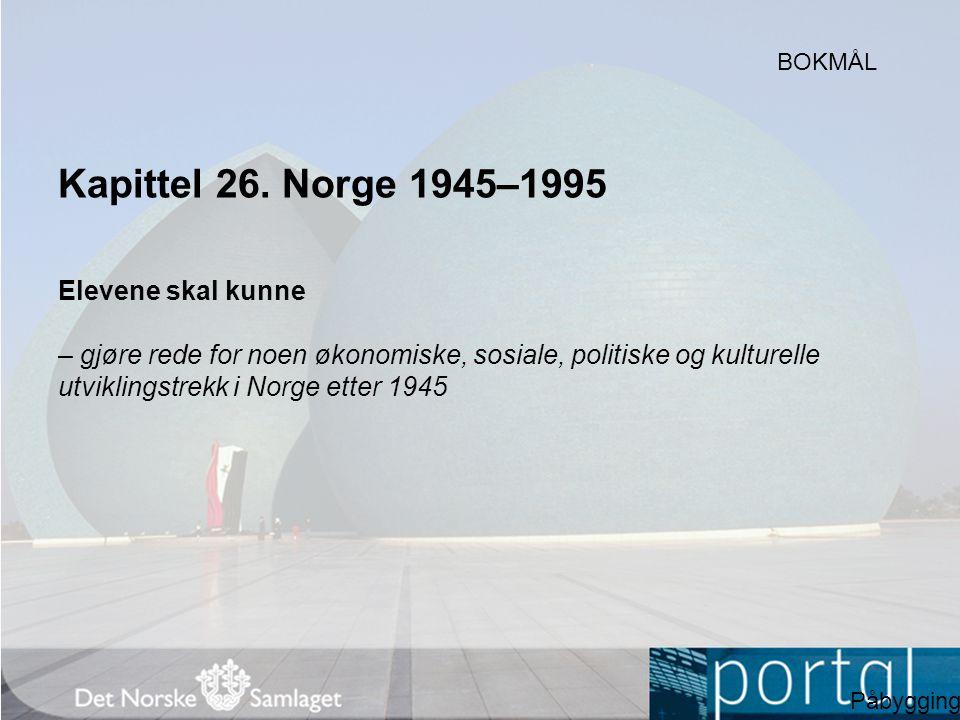 Kapittel 26. Norge 1945–1995 Elevene skal kunne – gjøre rede for noen økonomiske, sosiale, politiske og kulturelle utviklingstrekk i Norge etter 1945