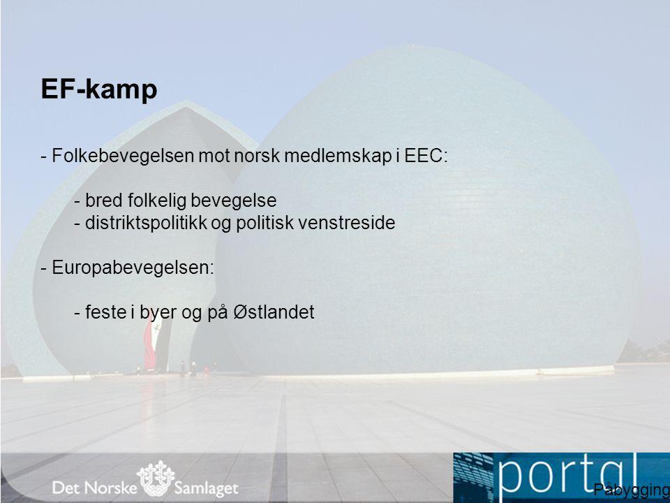 EF-kamp - Folkebevegelsen mot norsk medlemskap i EEC: - bred folkelig bevegelse - distriktspolitikk og politisk venstreside - Europabevegelsen: - fest