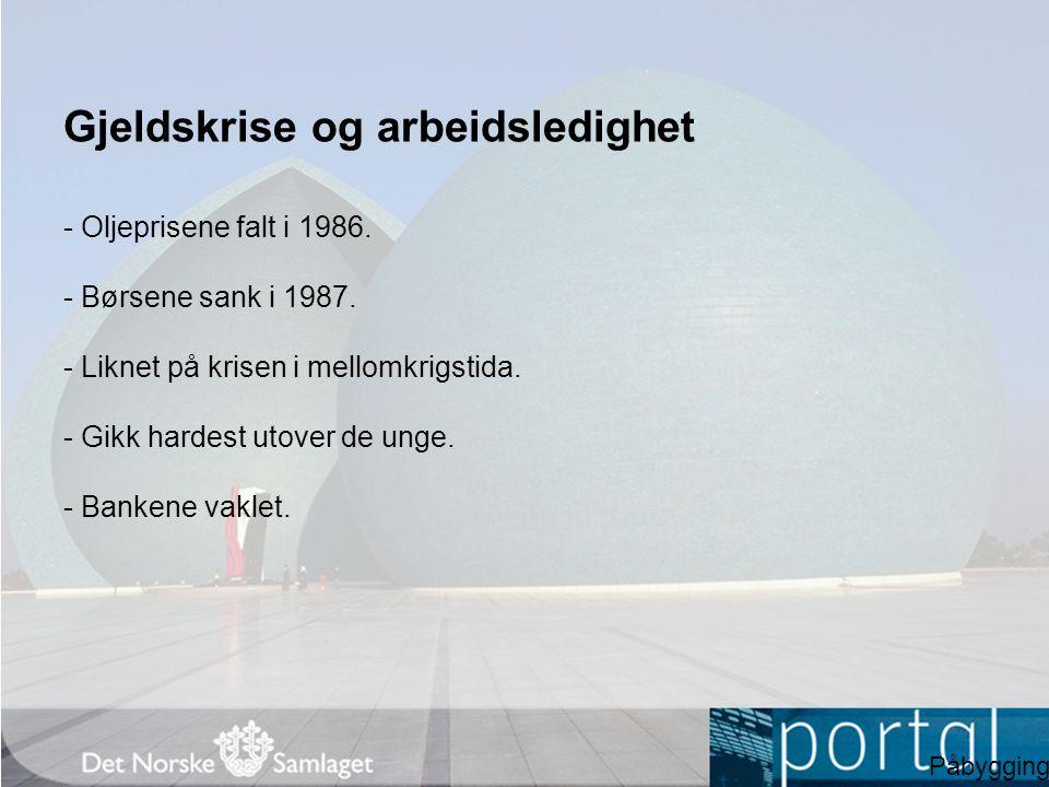Gjeldskrise og arbeidsledighet - Oljeprisene falt i 1986. - Børsene sank i 1987. - Liknet på krisen i mellomkrigstida. - Gikk hardest utover de unge.