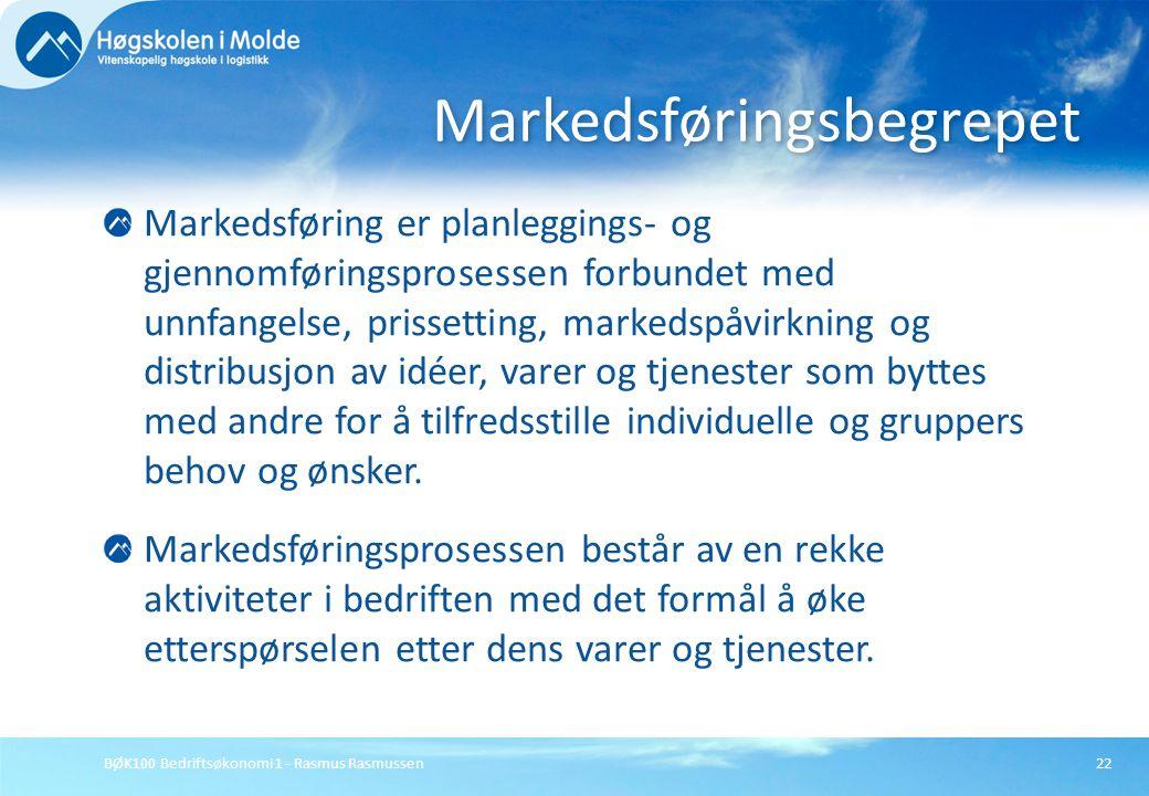 BØK100 Bedriftsøkonomi 1 - Rasmus Rasmussen22 Markedsføring er planleggings- og gjennomføringsprosessen forbundet med unnfangelse, prissetting, marked