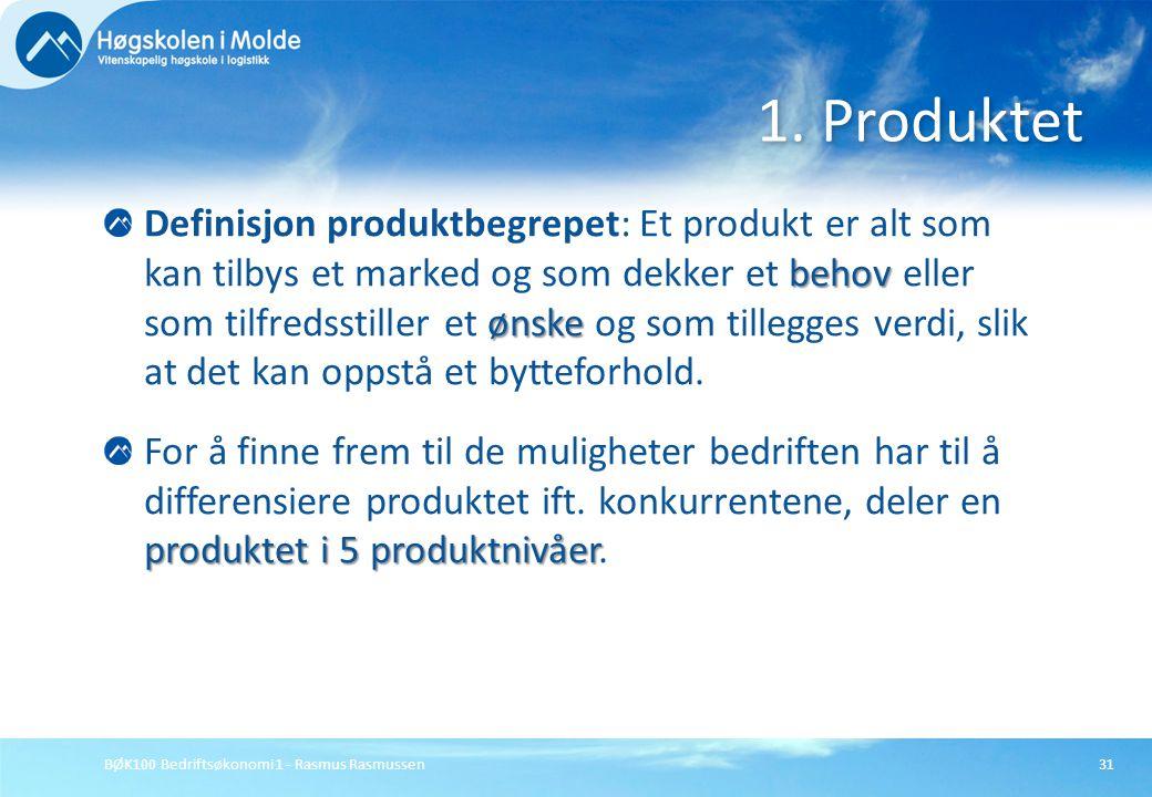 BØK100 Bedriftsøkonomi 1 - Rasmus Rasmussen31 behov ønske Definisjon produktbegrepet: Et produkt er alt som kan tilbys et marked og som dekker et beho