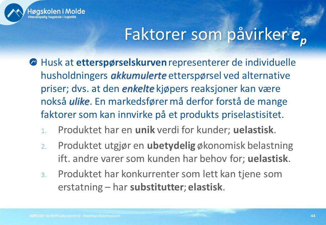 BØK100 Bedriftsøkonomi 1 - Rasmus Rasmussen44 akkumulerte enkelte ulike Husk at etterspørselskurven representerer de individuelle husholdningers akkum