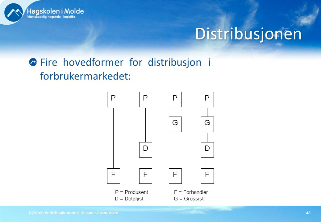 BØK100 Bedriftsøkonomi 1 - Rasmus Rasmussen48 Fire hovedformer for distribusjon i forbrukermarkedet: Distribusjonen P = ProdusentF = Forhandler D = De