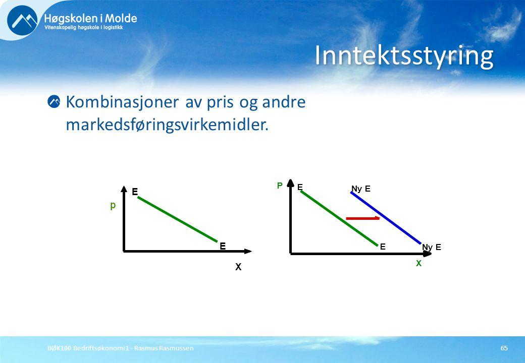 BØK100 Bedriftsøkonomi 1 - Rasmus Rasmussen65 Kombinasjoner av pris og andre markedsføringsvirkemidler. Inntektsstyring p E E X Ny E P X E E