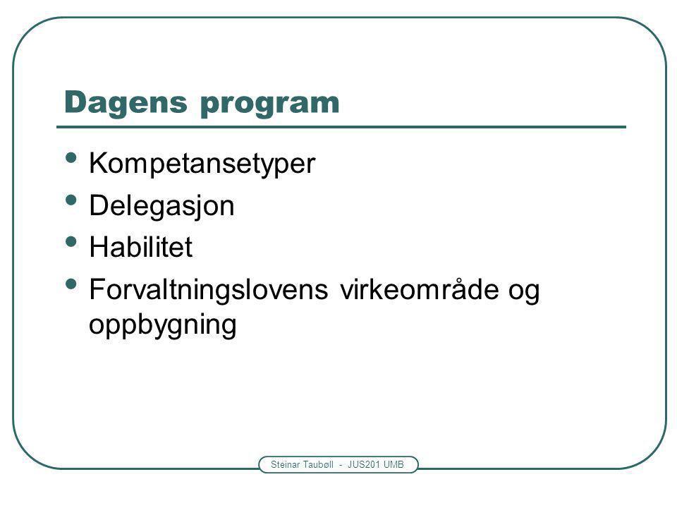 Steinar Taubøll - JUS201 UMB Dagens program • Kompetansetyper • Delegasjon • Habilitet • Forvaltningslovens virkeområde og oppbygning