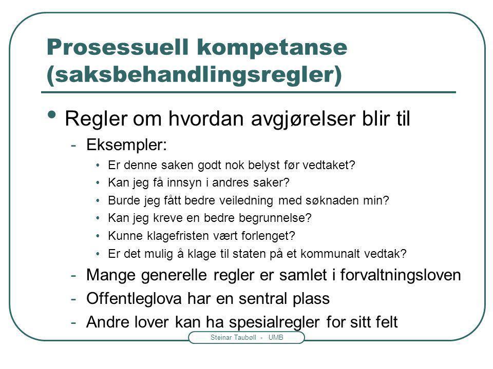 Steinar Taubøll - UMB Prosessuell kompetanse (saksbehandlingsregler) • Regler om hvordan avgjørelser blir til -Eksempler: •Er denne saken godt nok belyst før vedtaket.