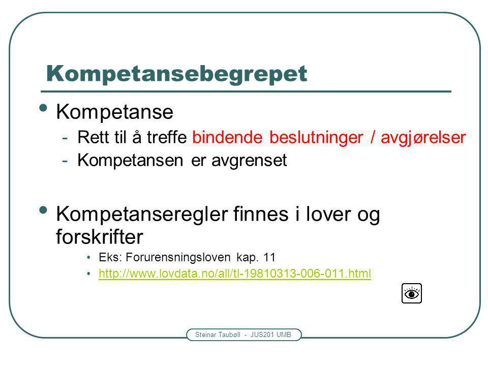 Steinar Taubøll - JUS201 UMB Kompetansebegrepet • Kompetanse -Rett til å treffe bindende beslutninger / avgjørelser -Kompetansen er avgrenset • Kompetanseregler finnes i lover og forskrifter •Eks: Forurensningsloven kap.