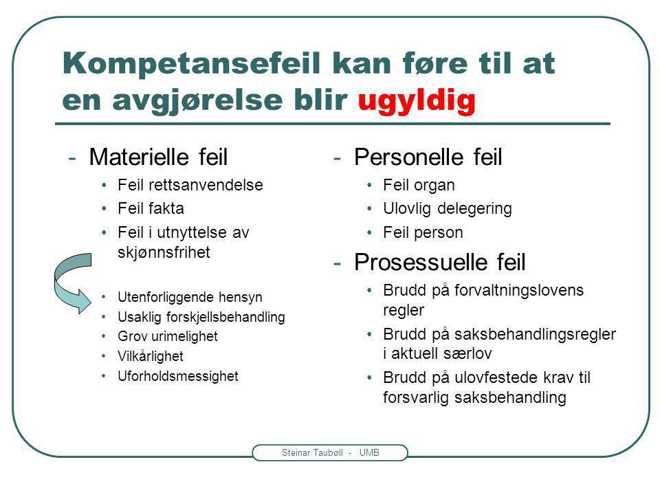 Steinar Taubøll - UMB Habilitetsregler flere steder i loven • De vanligste habilitetsreglene står i forvaltningsloven § 6 •Lov av 10 feb.