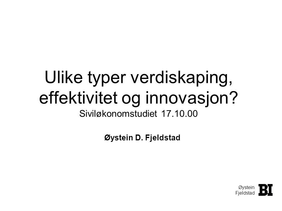 Øystein Fjeldstad Ulike typer verdiskaping, effektivitet og innovasjon? Siviløkonomstudiet 17.10.00 Øystein D. Fjeldstad
