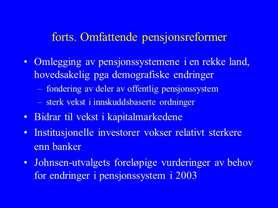 forts. Omfattende pensjonsreformer •Omlegging av pensjonssystemene i en rekke land, hovedsakelig pga demografiske endringer –fondering av deler av off
