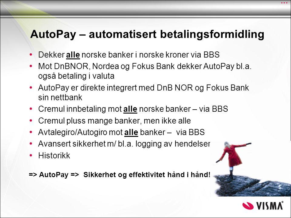 Elektronisk Motorvei AutoPay sentralbase Innfordring Kunde nr 1 Kunde nr 2 DnB NOR BBS Betalings- Formidling Nordea - Paymul - Controll - Bansta - Debmul - Telebank- integrasjon - Dir.rem - Returdata - Avtalegiro - Paymul - Controll - Bansta - Debmul Andre banker.