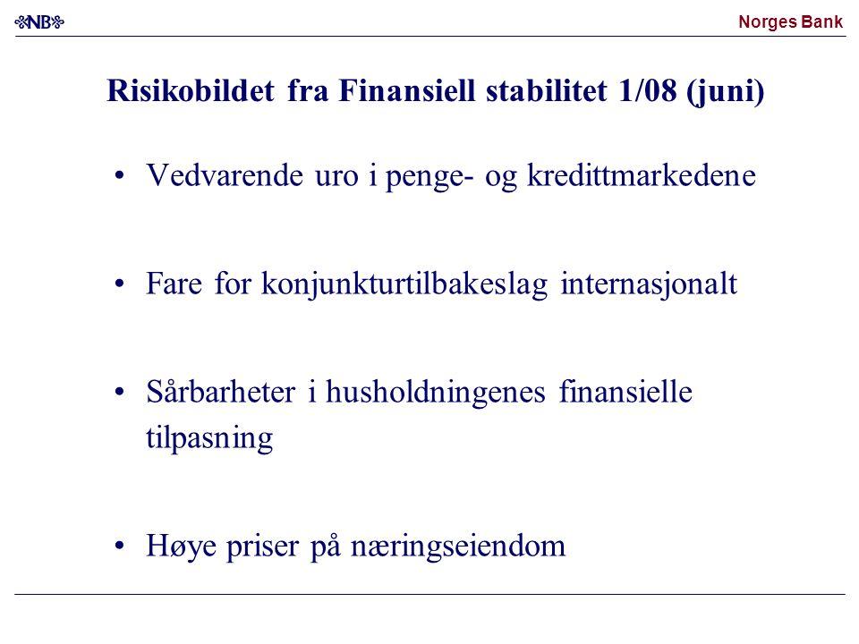 Norges Bank Pengemarked Aksjemarked Kilder: Norges, Bank, Bloomberg og Reuters EcoWin Kredittmarked Kredittderivatmarked Europeisk finans (Itraxx-indeks) Merrill Lynch JP Morgan Chase Citigroup UBS USAEuroområdet Storbritannia