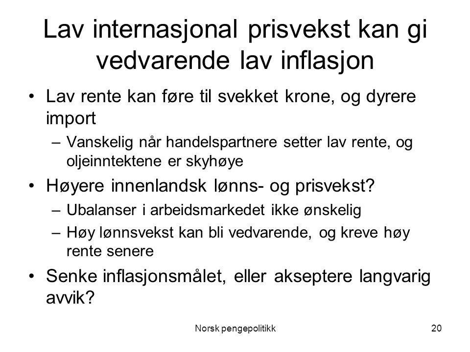 Norsk pengepolitikk20 Lav internasjonal prisvekst kan gi vedvarende lav inflasjon •Lav rente kan føre til svekket krone, og dyrere import –Vanskelig n
