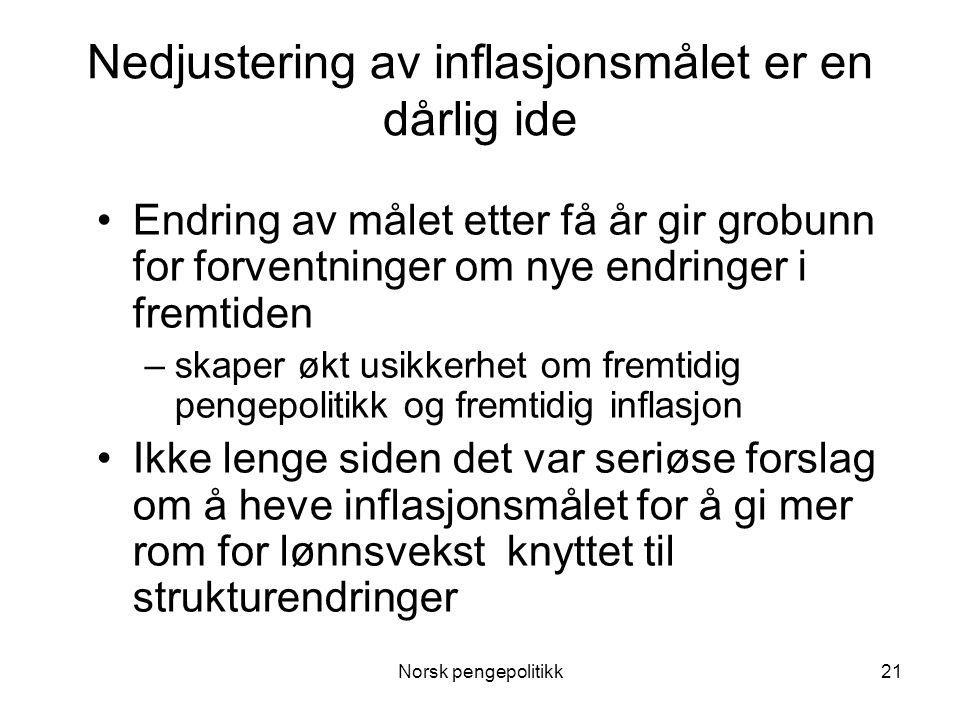 Norsk pengepolitikk21 Nedjustering av inflasjonsmålet er en dårlig ide •Endring av målet etter få år gir grobunn for forventninger om nye endringer i