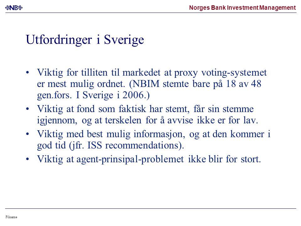 Norges Bank Investment Management Filname Utfordringer i Sverige •Viktig for tilliten til markedet at proxy voting-systemet er mest mulig ordnet.