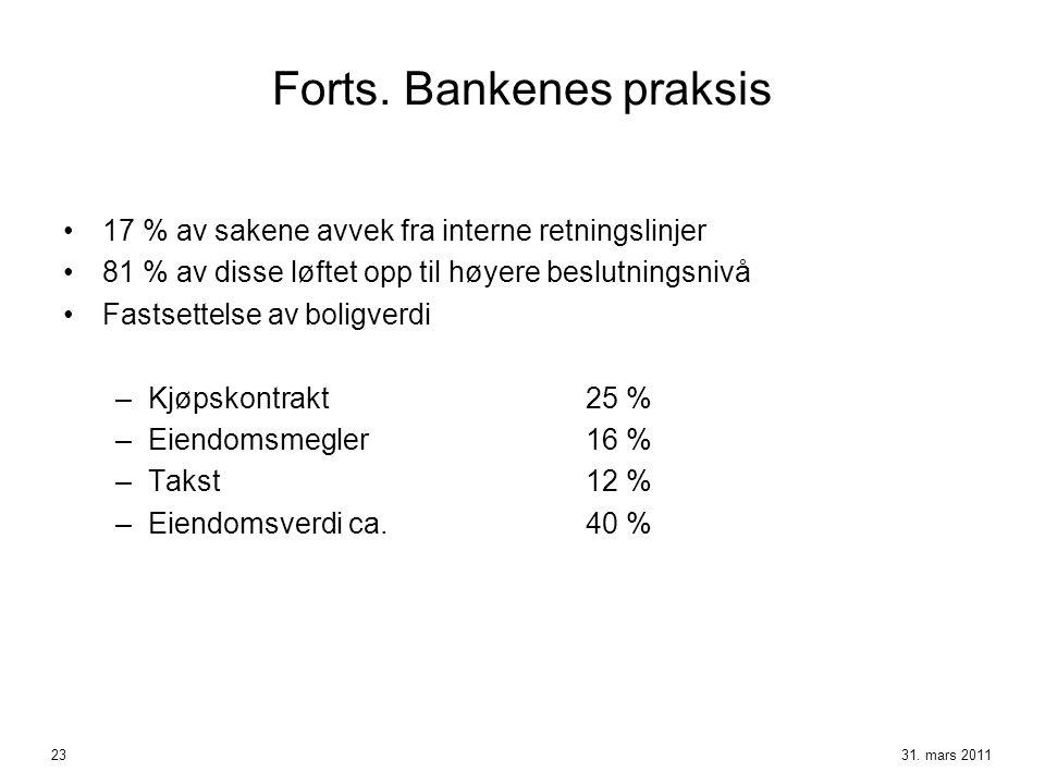 Forts. Bankenes praksis •17 % av sakene avvek fra interne retningslinjer •81 % av disse løftet opp til høyere beslutningsnivå •Fastsettelse av boligve