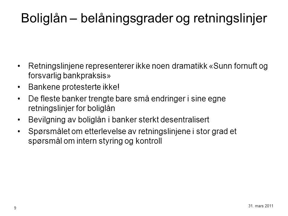 Boliglån – belåningsgrader og retningslinjer •Retningslinjene representerer ikke noen dramatikk «Sunn fornuft og forsvarlig bankpraksis» •Bankene prot