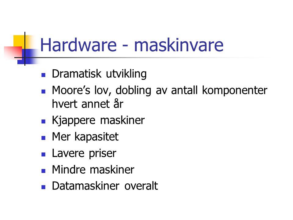 Hardware - maskinvare  Dramatisk utvikling  Moore's lov, dobling av antall komponenter hvert annet år  Kjappere maskiner  Mer kapasitet  Lavere p