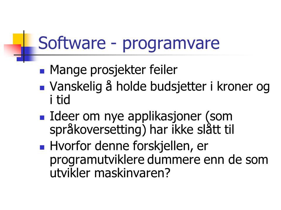 Software - programvare  Mange prosjekter feiler  Vanskelig å holde budsjetter i kroner og i tid  Ideer om nye applikasjoner (som språkoversetting)