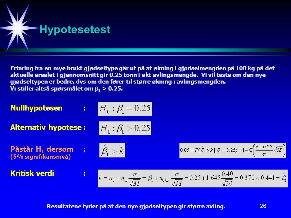 26 Hypotesetest Erfaring fra en mye brukt gjødseltype går ut på at økning i gjødselmengden på 100 kg på det aktuelle arealet i gjennomsnitt gir 0.25 t
