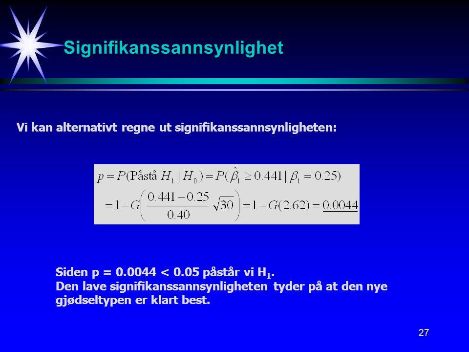 27 Signifikanssannsynlighet Vi kan alternativt regne ut signifikanssannsynligheten: Siden p = 0.0044 < 0.05 påstår vi H 1. Den lave signifikanssannsyn
