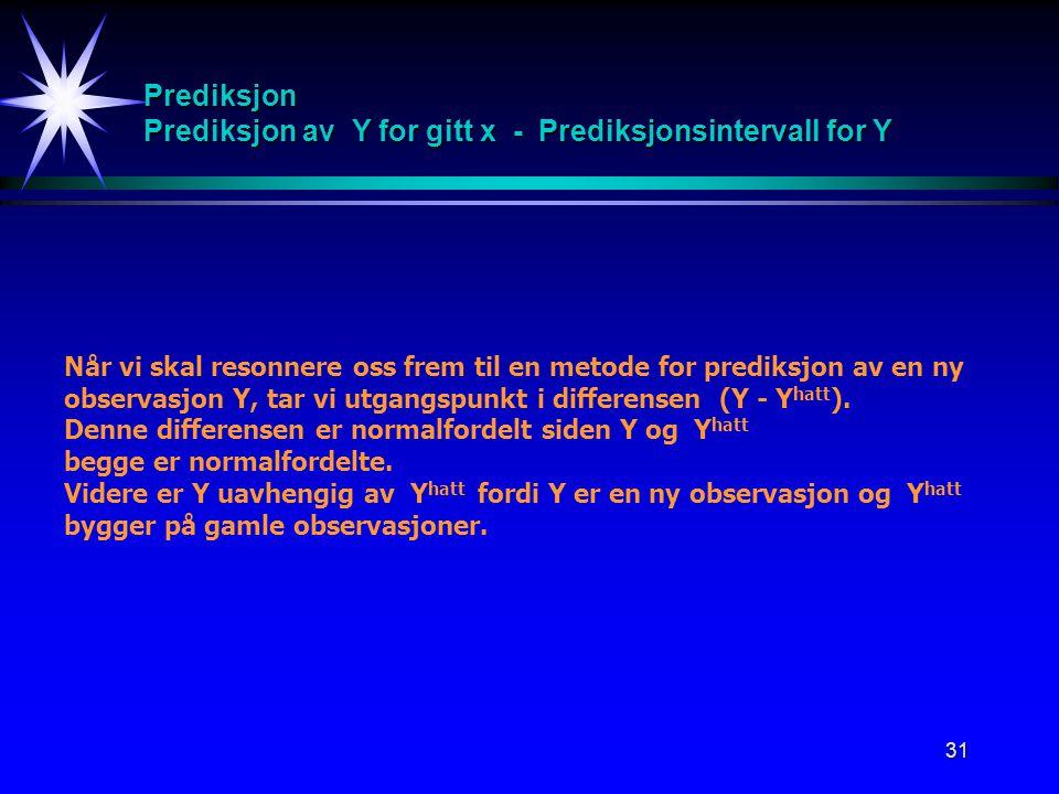 31 Prediksjon Prediksjon av Y for gitt x - Prediksjonsintervall for Y Når vi skal resonnere oss frem til en metode for prediksjon av en ny observasjon