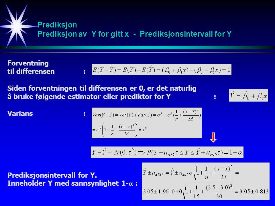 32 Prediksjon Prediksjon av Y for gitt x - Prediksjonsintervall for Y Forventning til differensen: Siden forventningen til differensen er 0, er det na