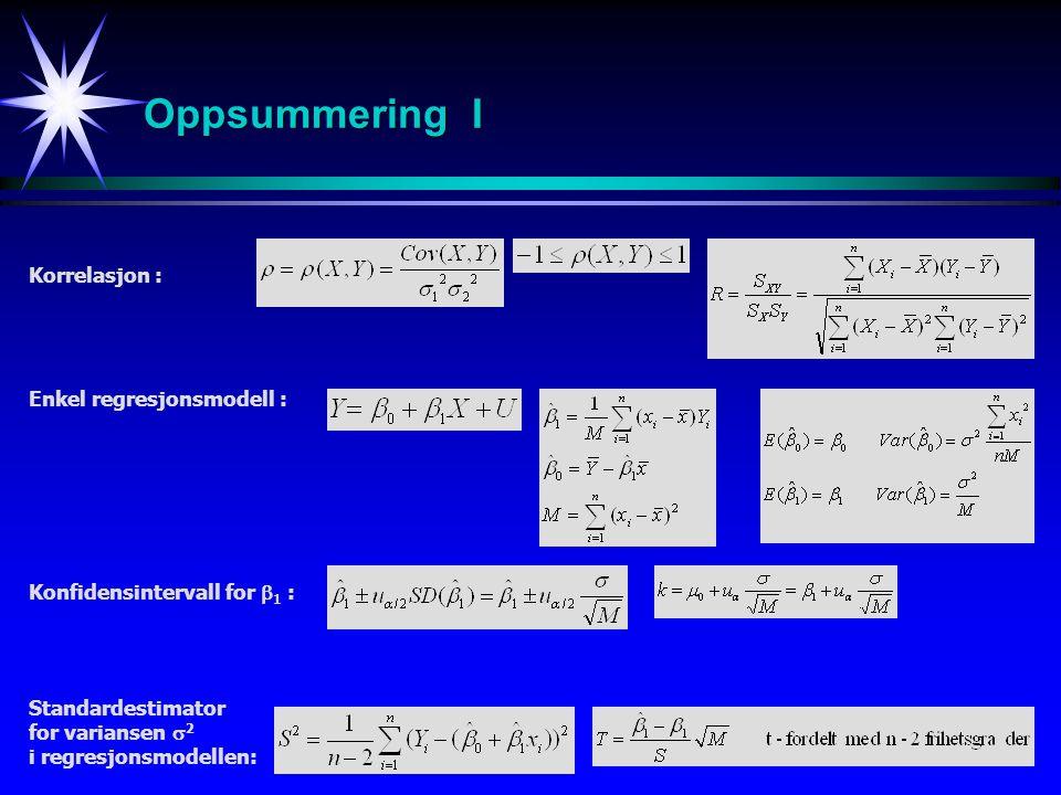 35 Standardestimator for variansen  2 i regresjonsmodellen: Oppsummering I Korrelasjon : Enkel regresjonsmodell : Konfidensintervall for  1 :