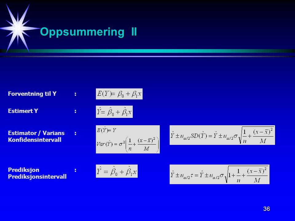 36 Estimator / Varians: Konfidensintervall Estimert Y: Forventning til Y : Prediksjon: Prediksjonsintervall Oppsummering II