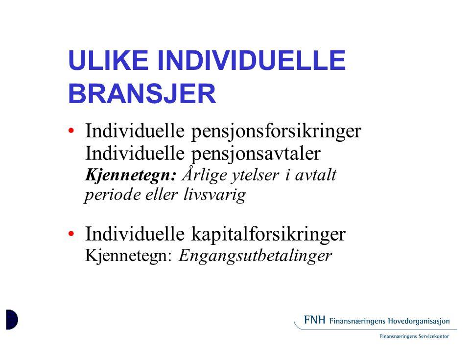ULIKE INDIVIDUELLE BRANSJER •Individuelle pensjonsforsikringer Individuelle pensjonsavtaler Kjennetegn: Årlige ytelser i avtalt periode eller livsvari