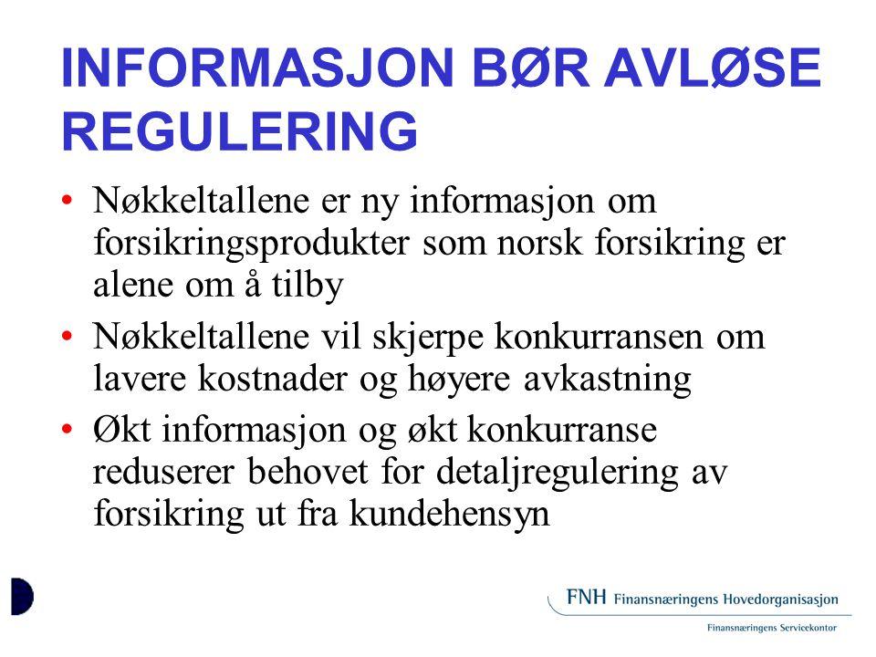 INFORMASJON BØR AVLØSE REGULERING •Nøkkeltallene er ny informasjon om forsikringsprodukter som norsk forsikring er alene om å tilby •Nøkkeltallene vil