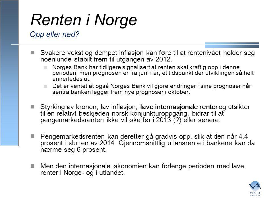 Renten i Norge  Svakere vekst og dempet inflasjon kan føre til at rentenivået holder seg noenlunde stabilt frem til utgangen av 2012.  Norges Bank h