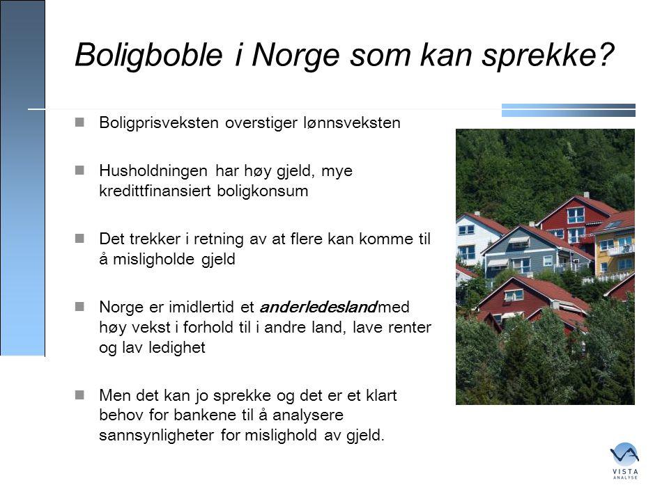 Boligboble i Norge som kan sprekke?  Boligprisveksten overstiger lønnsveksten  Husholdningen har høy gjeld, mye kredittfinansiert boligkonsum  Det