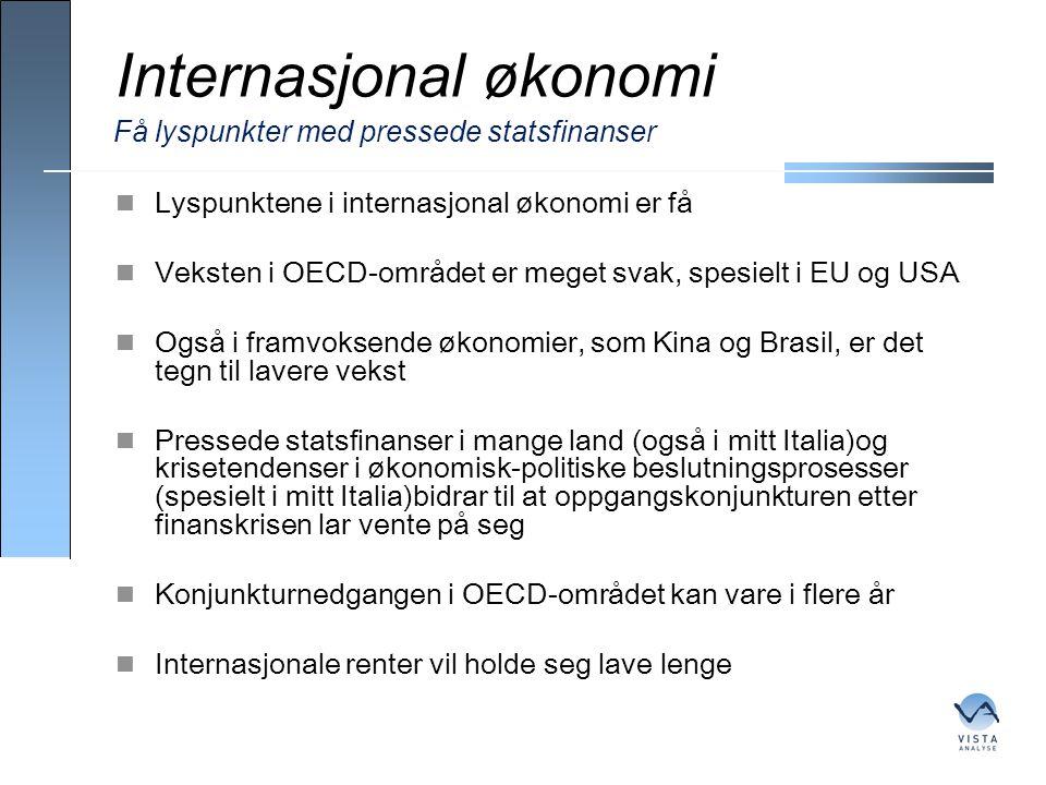 Internasjonal økonomi  Lyspunktene i internasjonal økonomi er få  Veksten i OECD-området er meget svak, spesielt i EU og USA  Også i framvoksende ø