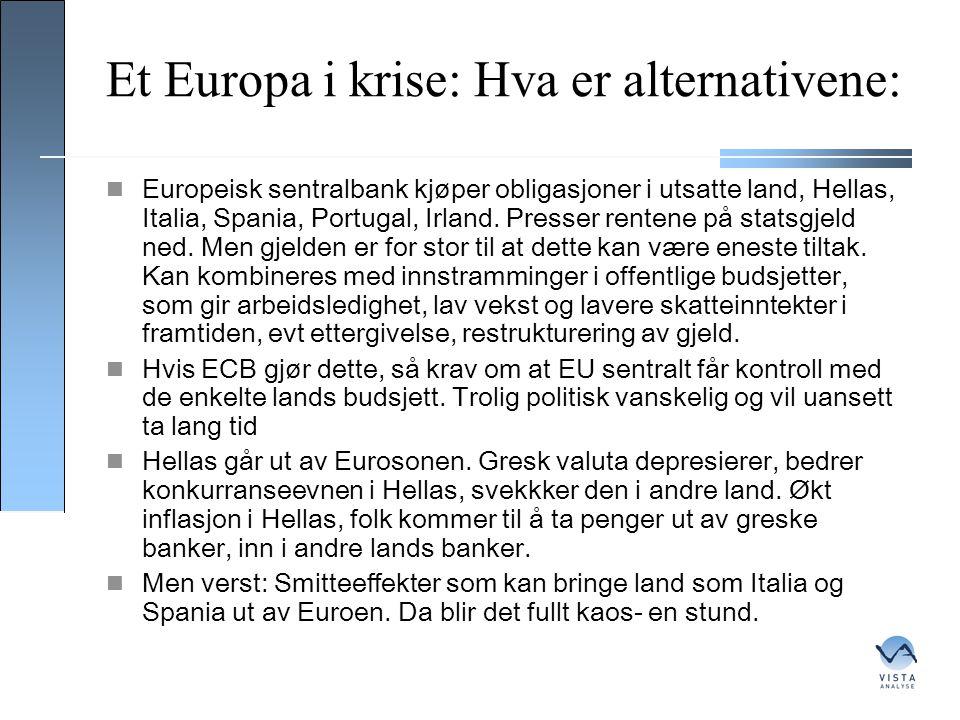Et Europa i krise: Hva er alternativene:  Europeisk sentralbank kjøper obligasjoner i utsatte land, Hellas, Italia, Spania, Portugal, Irland. Presser
