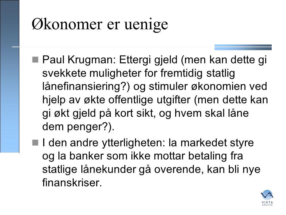 Økonomer er uenige  Paul Krugman: Ettergi gjeld (men kan dette gi svekkete muligheter for fremtidig statlig lånefinansiering?) og stimuler økonomien