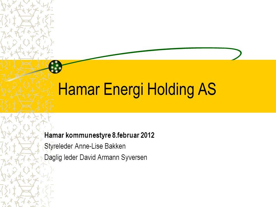 Hamar energi Holding AS Stiftet 24.03.2004 Eies 100 % av Hamar kommune Eier 22,07 % av Eidsiva energi AS