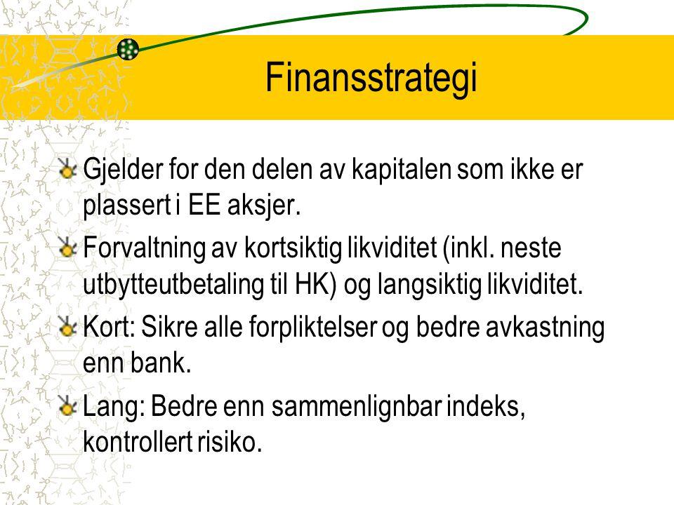 Finansstrategi Gjelder for den delen av kapitalen som ikke er plassert i EE aksjer. Forvaltning av kortsiktig likviditet (inkl. neste utbytteutbetalin