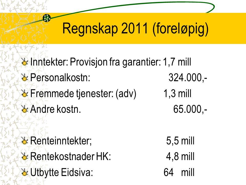 Regnskap 2011 (foreløpig) Inntekter: Provisjon fra garantier: 1,7 mill Personalkostn: 324.000,- Fremmede tjenester: (adv) 1,3 mill Andre kostn. 65.000