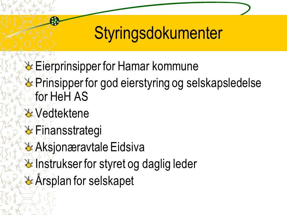 Eierstyring og selskapsledelse Bygger på aksjeloven, Hamar kommunes eierprinsipper og selskapets vedtekter Forvalte kommunens eierinteresser i energibransjen Gjennom eierskap og engasjement skal HeH ha krav om avkastning som er minst like god som alternative plasseringer med tilsvarende risiko