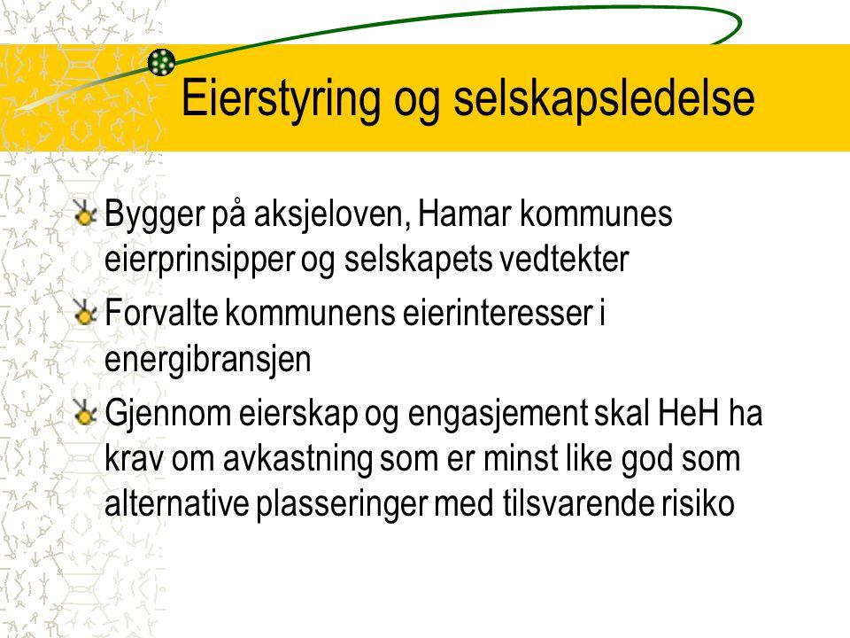 Eierstyring og selskapsledelse Bygger på aksjeloven, Hamar kommunes eierprinsipper og selskapets vedtekter Forvalte kommunens eierinteresser i energib