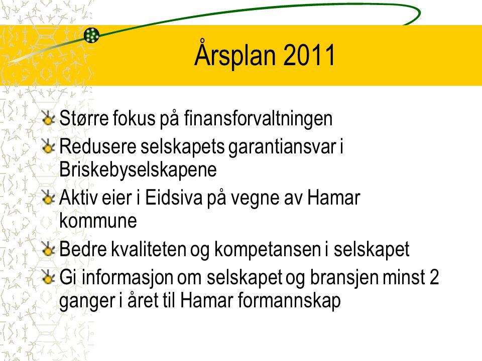 Årsplan 2011 Større fokus på finansforvaltningen Redusere selskapets garantiansvar i Briskebyselskapene Aktiv eier i Eidsiva på vegne av Hamar kommune