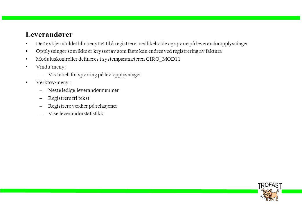 Leverandører •Dette skjermbildet blir benyttet til å registrere, vedlikeholde og spørre på leverandøropplysninger •Opplysninger som ikke er krysset av