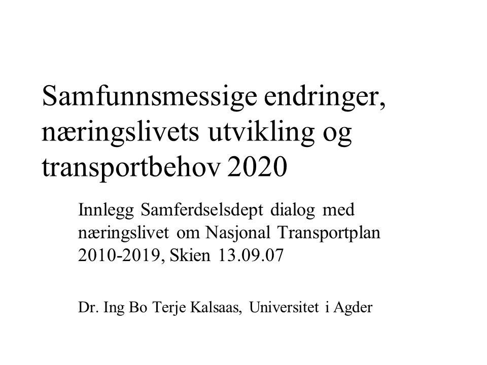 Samfunnsmessige endringer, næringslivets utvikling og transportbehov 2020 Innlegg Samferdselsdept dialog med næringslivet om Nasjonal Transportplan 2010-2019, Skien 13.09.07 Dr.