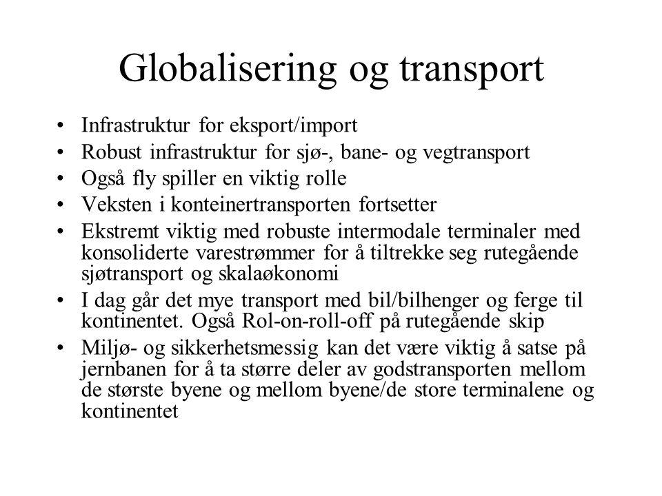 Globalisering og transport •Infrastruktur for eksport/import •Robust infrastruktur for sjø-, bane- og vegtransport •Også fly spiller en viktig rolle •