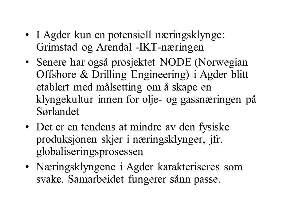 •I Agder kun en potensiell næringsklynge: Grimstad og Arendal -IKT-næringen •Senere har også prosjektet NODE (Norwegian Offshore & Drilling Engineering) i Agder blitt etablert med målsetting om å skape en klyngekultur innen for olje- og gassnæringen på Sørlandet •Det er en tendens at mindre av den fysiske produksjonen skjer i næringsklynger, jfr.