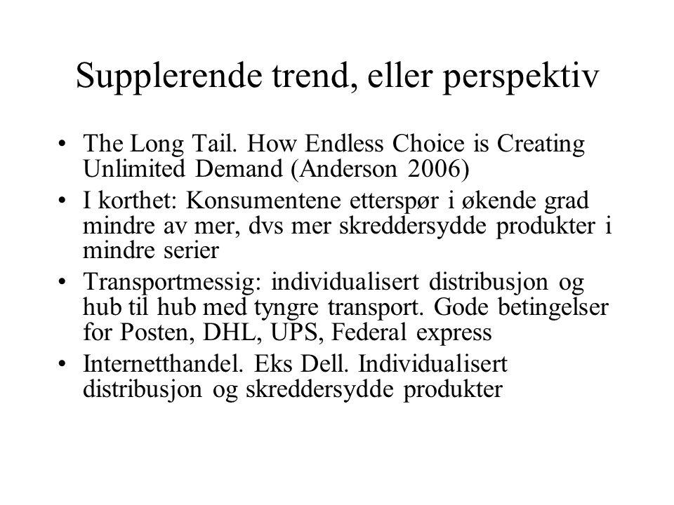 Supplerende trend, eller perspektiv •The Long Tail. How Endless Choice is Creating Unlimited Demand (Anderson 2006) •I korthet: Konsumentene etterspør