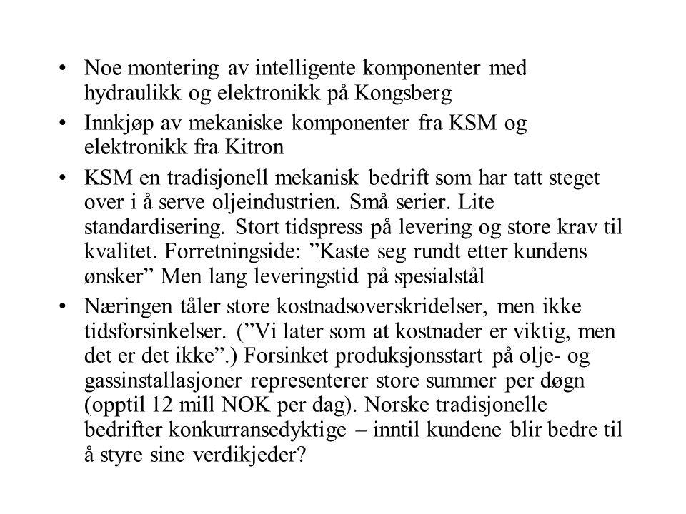 •Noe montering av intelligente komponenter med hydraulikk og elektronikk på Kongsberg •Innkjøp av mekaniske komponenter fra KSM og elektronikk fra Kit