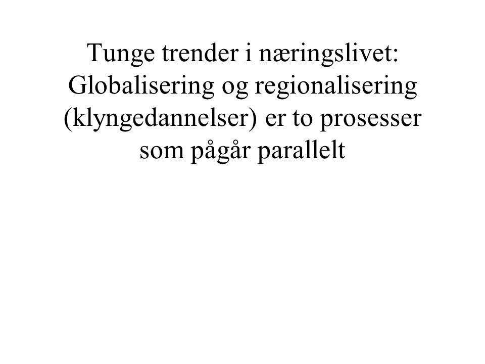 Globalisering •Hele verden tas i bruk som arena for arbeidsdeling.