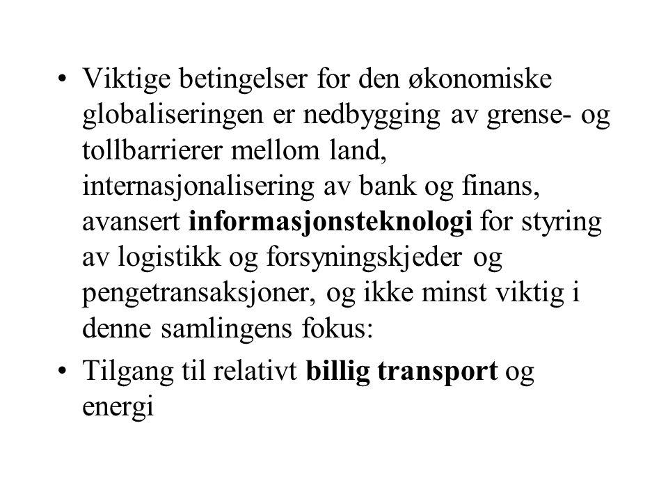 Konklusjon •Vi er i det postmoderne samfunnet med et mangfold av behov og etterspørsel når det gjelder transportløsninger (globalisering, næringsklynger/arbeidsreiser, individualisert distribusjon, handelssentra, kjedenes logistikk…) •Mange behov favoriserer godstransport på veg, om det ikke tas politiske grep for å utvikle konkurransedyktige alternative tilbud, evt kombinert med sterkere regulering av godstransport på veg der hvor gode alternativer finnes